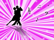 Tango. Couple dancing a tango on a star-burst background Stock Image