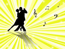 Tango. Couple dancing a tango on a star-burst background Royalty Free Stock Images