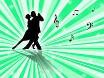 Tango. Couple dancing a tango on a star-burst background Royalty Free Stock Photos