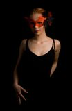 Tango. Mysterious lady in red mask ready to dance Stock Photography