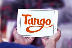 Tango application logo. Logo of Tango application on samsung tablet. Tango is a third-party cross platform messaging application software for smartphones Royalty Free Stock Photo