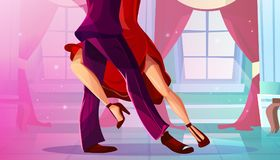 Tango dance in ballroom vector illustration. Tango in ballroom vector illustration of man and woman in red dress dancing Latin American dance in royal palace royalty free illustration