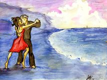 Tango on the beach. Romantic couple dancing tango on the beach, she's in red dress, barefoot - watercolor Stock Photo