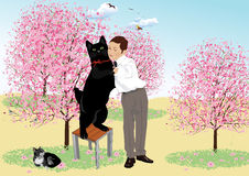 Tango with a black cat Royalty Free Stock Image