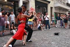 Tango in Buenos Aires. BUENOS AIRES - FEBRUARY 25: A pair of tango dancers perform on February 25, 2009 in San Telmo in Buenos Aires, Argentina. The tango dance