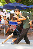 Tango in Buenos Aires. A pair of professional dancers dancing tango in the street of Buenos Aires Royalty Free Stock Images