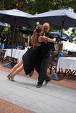 Tango in Buenos Aires. Professional dancers dancing the tango in San Telmo royalty free stock photo