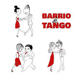 Tango couple poster. Hand drawn vector illustration of tree dancing couples with Spanish text Barrio de tango, meaning Tango district. Design concept for poster Royalty Free Stock Photography