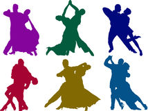 Tango couples. Six different tango couples in action silhouettes Royalty Free Stock Photos