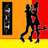 Tango Dance. Cartoon style background Royalty Free Stock Photo