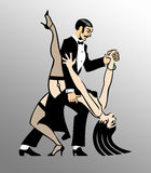Tango Dance. A Couple Dancing Tango with a nice move stock illustration