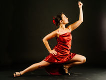 Tango dance moves. Photo of a young beautiful woman performing tango moves Royalty Free Stock Photos