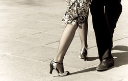 Tango dancers. Street dancers performing tango dance. Aged tone. Copy space royalty free stock images