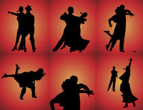 Tango Dancers. Silhouettes of six couples tango dancing on red background Royalty Free Stock Images