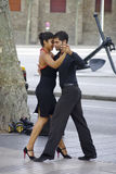 Tango dancers along the streets in Barcelona. stock photography