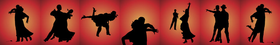 Tango Dancers Banner. Silhouette banner of couples tango dancing on red background Royalty Free Stock Photos
