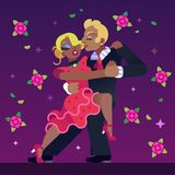 Tango Dancers Couple with Flowers. Vector Illustration of Couple Dancing Tango on a Red Flowers at Purple Background Stock Photos
