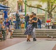 Tango Dancers Dancing at San Telmo Square, Argentina royalty free stock images