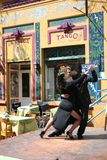 Tango Dancers in La Boca Buenos Aires Argentina. Tango Dancers in front of a cafe in La Boca Argentina royalty free stock images
