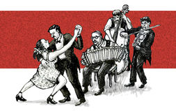Tango dancers and musicians Royalty Free Stock Photo