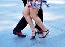 Tango dancers. Dancers performing a tango argentine dance in the street royalty free stock images