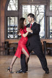 Tango Dancers Performing Leg Wrap Step While Performing In Resta Royalty Free Stock Images