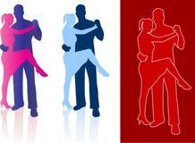 Tango dancers in silhouette Stock Image