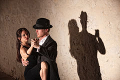 Tango Dancers Under Spotlight Stock Photos