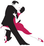 Tango dancers. Vector illustration of a couple in an embrace dancing the Argentine Tango Stock Photo