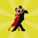 Tango dancing couple man and woman Stock Photos