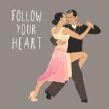 tango Dansend paar? dat op wit wordt geïsoleerdg Het dansen trucs in geel Dansklasse Royalty-vrije Stock Afbeeldingen
