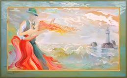 Tango del bretón de la playa Los pares del baile en el mar céltico de la costa Pintura al óleo en la madera Imágenes de archivo libres de regalías