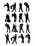 Tango e dançarino Silhouettes dos pares da salsa ilustração do vetor