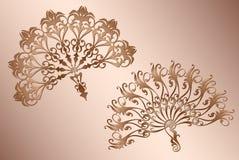 Tango espagnol classique de fan avec la décoration de calibre de vintage d'ornement illustration stock