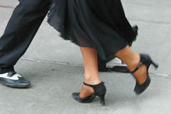 Tango feet. Feet of a couple dancing Tango in Buenos Aires Stock Photo