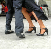 Tango feet. Argentinian couple dancing in San Telmo, Buenos Aires captured with motion blur Stock Images