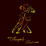 The tango gold. Illustration - silhouettes of people who dance tango Royalty Free Stock Photo