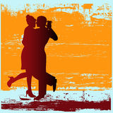 Tango Grunge. Background grunge illustration of a couple dancing a Tango Stock Image