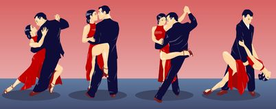 The tango lesson vector illustration