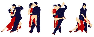The tango lesson - isolated Royalty Free Stock Image