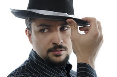 Tango-mambo style. A man with hat, concept image, could be mafia, tango or mambo dancer Stock Photography