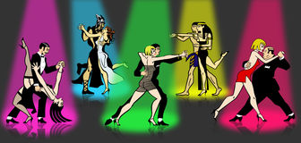 Tango Party of All Times. Five couples of all times dancing Tango with disco colored spotlights royalty free illustration