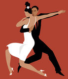Tango. Sexy Hispanic couple dancing Argentine tango, vector illustration, no transparencies, EPS 8 Royalty Free Stock Photography