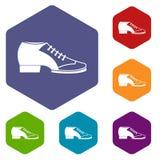 Tango shoe icons set hexagon Stock Photos