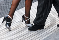 Tango shoes. Feet of a couple dancing Tango in Buenos Aires Stock Photos