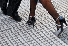 Tango shoes. Feet of a couple dancing Tango in Buenos Aires Royalty Free Stock Images