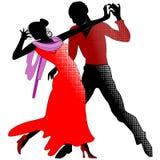 Tango, silhouettes en rouge Image stock