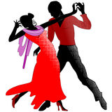 Tango, silhouettes in red. Silhouettes of couples in the red ballroom dancing a tango on a transparent background Stock Image