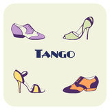 Tango skor affischen royaltyfri illustrationer