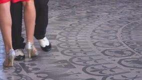 Tango steps in a ballroom. 4K